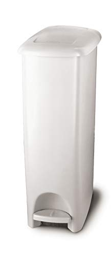 Rubbermaid Step On Lid Slim Trash Can for Home, Kitchen, and Bathroom Garbage, 11.25 Gallon, White