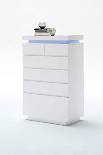 Newfurn Sideboard Kommode Modern Anrichte Highboard Mehrzweckschrank II 73x114x 40 cm (BxHxT) II [Liv.Seven] in Weiß/Weiß Wohnzimmer Schlafzimmer Esszimmer