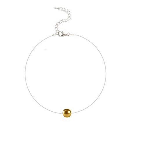 Damen Nylonkette Transparent Halskette mit Einer schwebende Swarovski-Perle 10mm Edelstahlschmuck Halscollier Perlcollier 38+5cm /42+5cm (Gold 38+5cm)