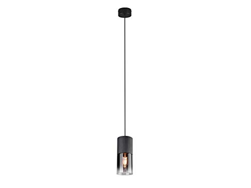 Elegante LED Zylinder Pendelleuchte aus matt schwarzem Metall mit einem Rauchglasschirm
