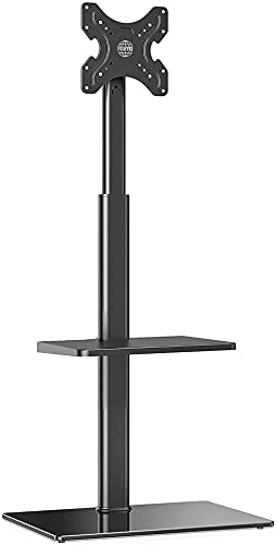DZCGTP Soporte para TV de Piso con 2 estantes para Pantalla de 19'- 42' 16 Alturas Ajustables Soporte Giratorio inclinable a 70 ° Máx.Cable VESA 200x200 mm