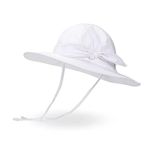 LACOFIA Sombrero para el Sol para bebé recién Nacidas Gorra de Visera de Verano para Infantil niñas con Correa de Barbilla Ajustable Blanco 1-2 años