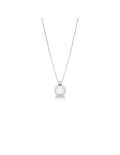 Gioielli di Valenza - Collana in Oro Bianco 18k con Perla e Diamante - PA1G05B85