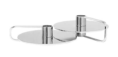 Blomus Kerzenhalter-65753 Kerzenhalter, Silber, H 6 cm, H 4 cm, T 14 cm, Ø 12, 5 cm