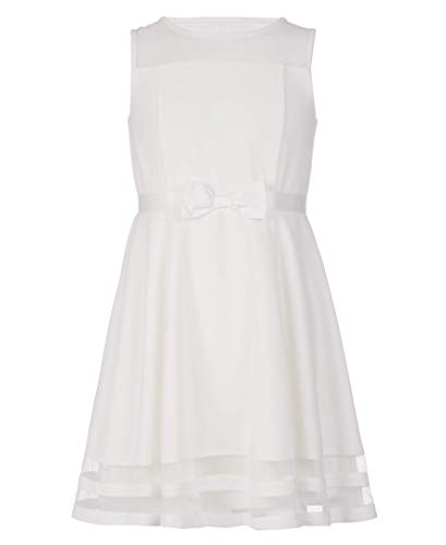 Calvin Klein Girls' Sleeveless Mesh Lace Party Dress with Bow, Whipped Cream, 10