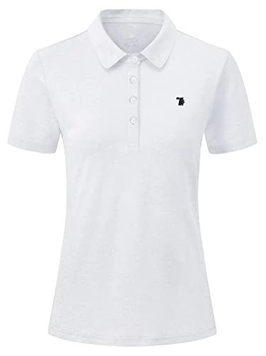 YSENTO Damen Golf Poloshirt Kurzarm Polohemd Schnelltrocknend Atmungsaktiv Sport Tennis Lady-Fit T-Shirts(Weiß,XL)
