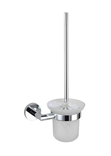 WENKO 17958100 WC-Garnitur Revello Power-Loc - Befestigen ohne Bohren, Glas, Messing verchromt, rostfrei, 16.5 x 38 x 12 cm