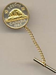 Canadian Nickel Beaver Two Tone Gold on Silver World Coin Tie Tack