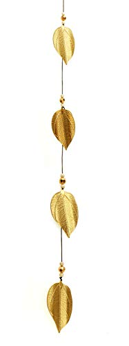 TEMPELWELT Deko Anhänger Dekogirlande Blätter Zum Hängen 95 cm, Metall Gold Holz Holzperlen, Herbstdeko Dekokette Fensterdeko