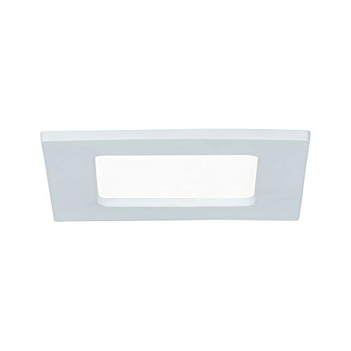Paulmann 92064 Panel empotrable LED, plafón cuadrado 6 W luz 4000 K blanco neutro, panel LED blanco IP44 resistente a salpicaduras...