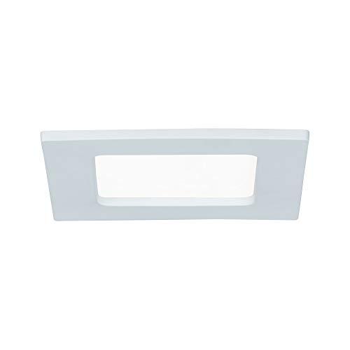 Paulmann 92064 Panel empotrable LED, plafón cuadrado 6W luz 4000 K blanco neutro, panel LED blanco IP44 resistente a salpicaduras de agua, con fuente de luz incluida