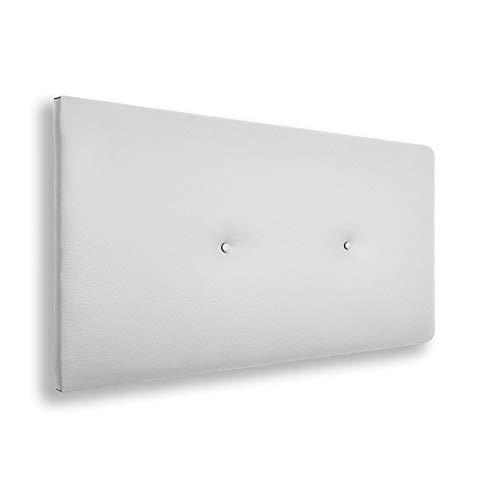 Silcar Home | Cabecero de Cama Tapizado en Polipiel con Hilera de Botones, Modelo Silvi (Blanco, 90 cm) | Cabecero Acolchado | Cabezal Tapizado | Cabecero Original