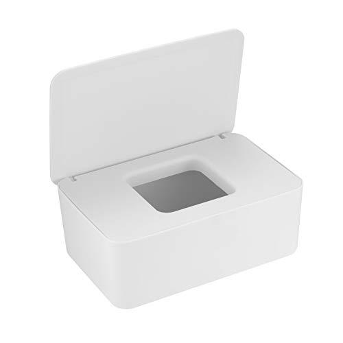 Caja para Toallitas Húmedas, Toallitas Dispensador, Caja de Servilletas, Dispensador de Toallitas Pañal Caja, Caja de Almacenamiento para Tejidos de Bebé - Blanco