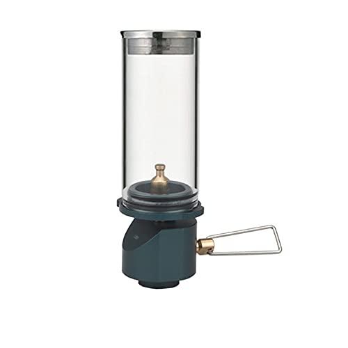 Laoonl - Farol de gas butano, lámpara de ambiente con cristal ahumado, lámpara de exterior, pantalla de cristal templado para picnic, camping, visita autónoma y emergencia.