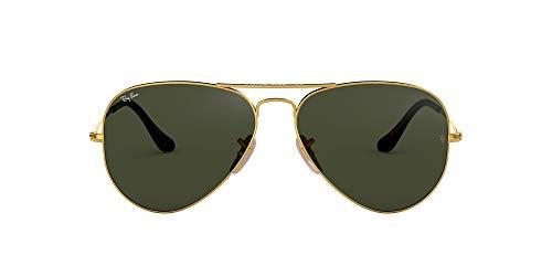 Ray-Ban RB3025 Classic Aviator Sunglasses, Gold/Dark Green, 55 mm