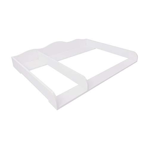 Puckdaddy Wickelaufsatz Frederik – 108x80x15 cm, Wickelauflage aus Holz in Weiß, hochwertiger Wickeltischaufsatz passend für IKEA Hemnes Kommoden, inkl. Montagematerial zur Wandbefestigung