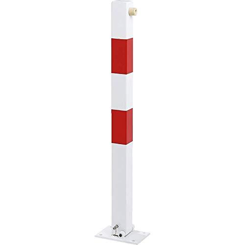 ROBUSTO Klapppfosten Vierkant zum Aufdübeln, abschließbar mit Vorhängeschloss, rot/weiß aus Stahl