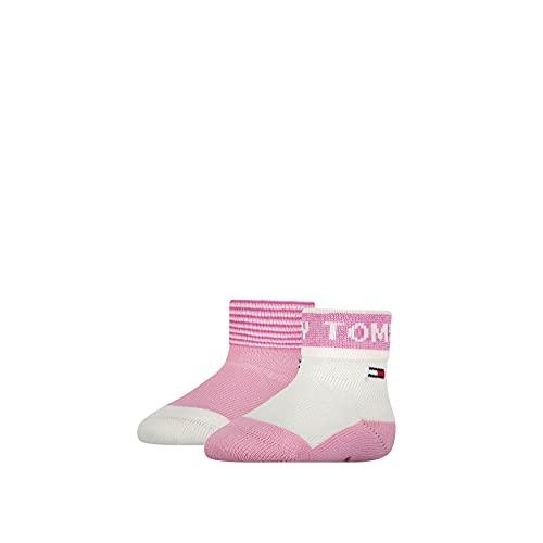 Tommy Hilfiger Fold Over Baby Socks Calcetín clásico, Pink Combo, 15 para Bebés