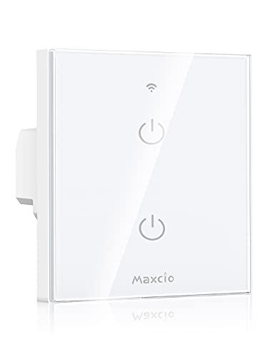 Interruptor Luz WiFi, Maxcio Interruptor Inteligente 2 Gang Compatible con Alexa, Google Home, Control de APP y Función de Temporizador, Se Necesita Neutro