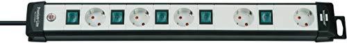 Brennenstuhl Premium-Line, Technik Steckdosenleiste 5-fach mit einzeln schaltbaren Steckdosen (mit 3m Kabel, Made in Germany) schwarz/grau