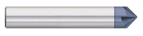 Titan TC87780 Solid Carbide Chamfer Mill, 4 Flute, Single End, 60 Degree Angle, AlTiN Coated, 1/8' Size, 1/8' Shank Diameter, 1-1/2' Overall Length