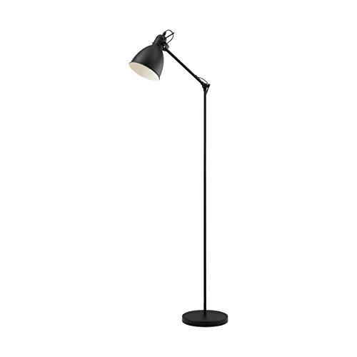 EGLO Stehlampe Priddy, 1 flammige Vintage Stehleuchte im Industrial Design, Retro Standleuchte aus Stahl, Farbe: schwarz, weiß, Fassung: E27, inkl. Trittschalter