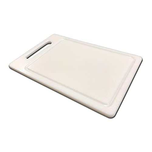 AUSONIA - 66432 Tabla de cortar polietileno de carnicero blanco Cm 30x20x1 con mango