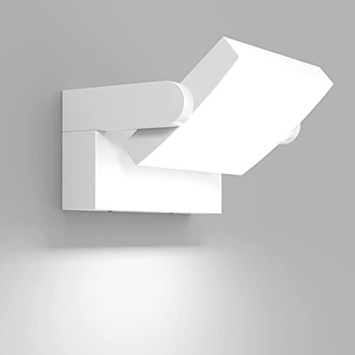 Klighten 24W LED Lámpara de Pared Exterior Interior IP65, Apliques de exterior Ajustable, Moderno Apliques de Pared Aluminio para Entrada Jardines Balcones, Blanco Frio 5700K-6000K, Blanca