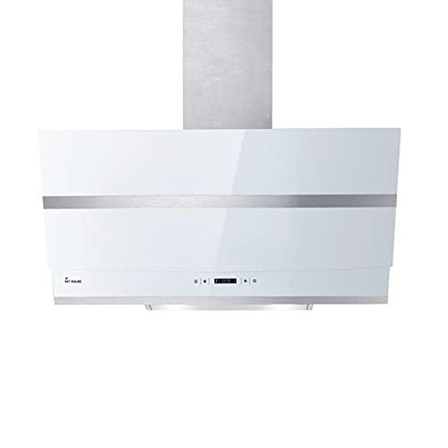 KKT KOLBE/Kopffreie Wandhaube/Dunstabzugshaube / 80cm / Edelstahl/weißes Glas/WLAN/Nachlaufautomatik/RGBW-LED-Beleuchtung/SensorTouch Bedienung / HERMES807WM