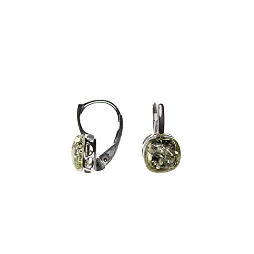 Pendientes modernos verdes engarzados en plata de ley 925/000 rodiada y ámbar de Artisana.