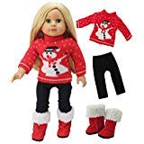 American Fashion World Christmas Snowman Red Sweater Pant Set with Boots Made to fit 18 inch Dolls Such as American Girl Dolls