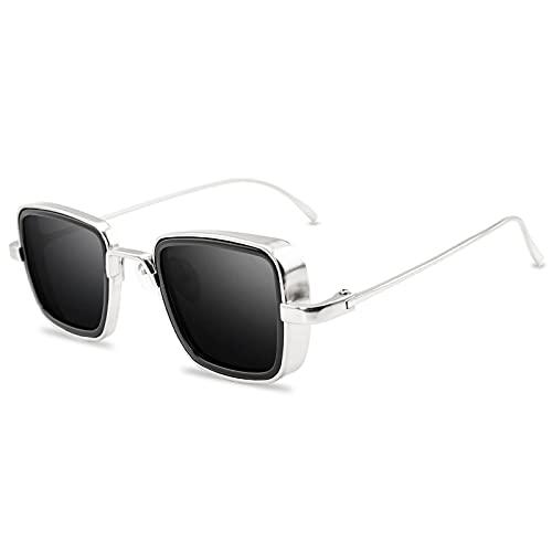 Gafas De Sol De Moda Cuadradas De Metal con Montura Gruesa Vintage, Gafas De Motociclista De Pesca, Gafas De Sol Deportivas para Hombre Y Mujer, Perspectiva De Luz Visible 50 (%),A9