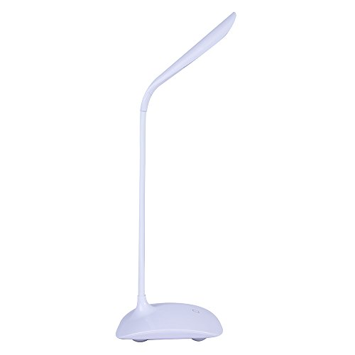 Dimmable Desk Lamp, 14LEDs Eye-Care Table Light Lamp with 3 Level Dimmer Touch Control, Adjustable Gooseneck Lamp with USB port for Studying, Reading, Working,Camping - White