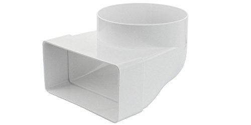 Flachkanal Umlenkstück rund-eckig 150 x 75 mm - Ø 125 mm (Kanal Rohrverbinder Kanalverbinder Übergangsstück Lüftungskanal Verbindungsstück Abluft Zuluft Flexschlauch)