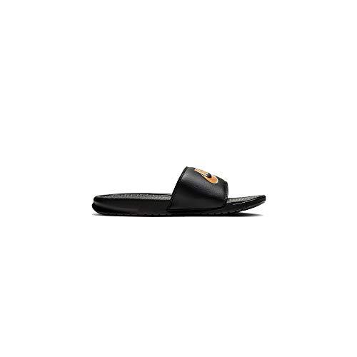 Nike Mens Benassi JDI Slide Sandal, Black/Metallic Gold, 42.5 EU