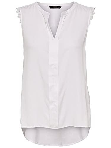 Only Onlkimmi S/l Top Wvn Noos Camiseta sin Mangas, Blanco (White), 44 para Mujer