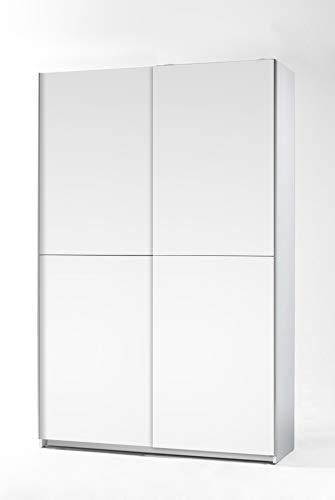 lifestyle4living Schwebetürenschrank in Weiß, 125 cm | Hochwertiger Kleiderschrank mit 2 Schwebetüren, 4 Einlegeböden, 2 festen Böden und 1 Kleiderstange