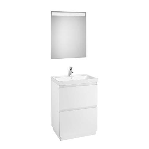 Lavabo posición central + Mueble base de 2 cajones a suelo + Espejo led, pack Lander Roca, 60 x 46 x 86,5 centímetros, color blanco...