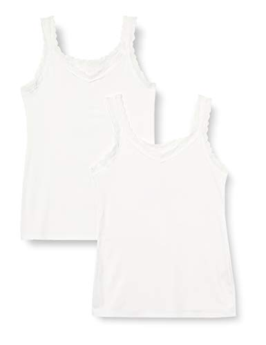Marca Amazon - Iris & Lilly Camiseta de Tirantes de Algodón Mujer, Pack de 2, Blanco, M, Label: M
