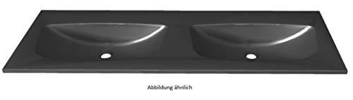 PELIPAL 6025 Mineralmarmor Doppelwaschtisch, Schwarz-Metallic / MMDWT70-1320-SM/B: 132 cm