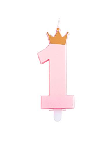 Givi Italia candelina Rosa di Cera Numero 1 con coroncina Oro Compleanno