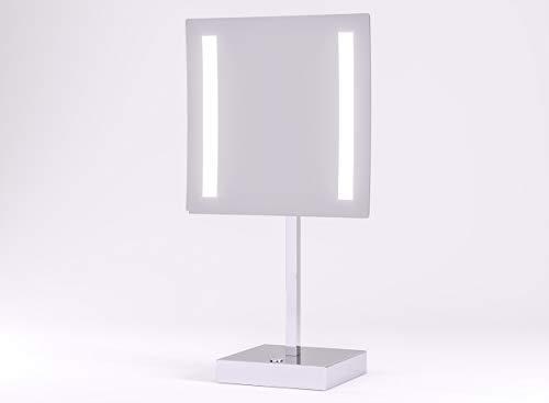 Kosmetikspiegel beleuchtet mit LED - Schminkspiegel TALOS Paros 20 x 20 cm - Rasierspiegel mit 3-facher Vergrößerung - zweistufigem Lichtfarbenwechsler (warmweiße/kaltweiße Lichtfarbe)