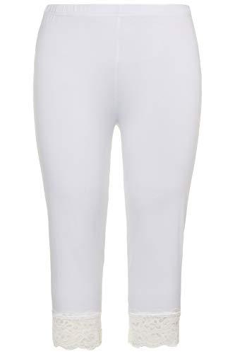 Ulla Popken Damen Capri, Spitze, Größen Leggings, Weiß (Weiß 71017020), 50-52