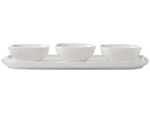 Maxwell & Williams White Basics Lot de 4 bols à tapas avec plateau rectangulaire en porcelaine Blanc