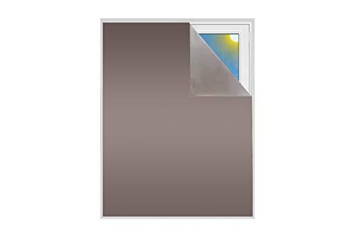 Verdunklungsstoff Meterware Sonnenschutz zu 100% Blackout Thermobeschichtet Meterware für Fenster und Türen 100% verdunkelnd lichtundurchlässig Velux Dachfenster (Bronze)