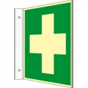 Fahnenschild Erste Hilfe HIGHLIGHT PVC 14,8 x 14,8cm (Rettungsschild, Hinweisschild, Unfall) praxisbewährt, wetterfest