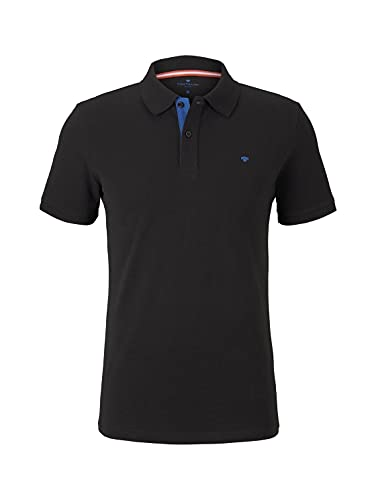TOM TAILOR Herren Basic Polo_1016502 Poloshirt, Black, XXL EU