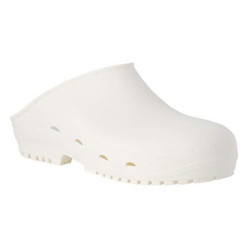 REPOSA Easy Zuecos Sanitarios, Zapatos Sanitarios Tipo Zueco, polímero Natural antiestático, sin látex, capellada Superior Cerrada, Agujeros Laterales Plantilla anatómica SRC (Blanco, Numeric_38)