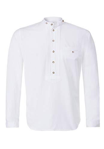 Stockerpoint Trachtenhemd OC-STU | Weiß mit Stehkragen und halboffener Knopfleiste | Regular Fit (M)