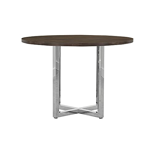 Modus Amalfi 5PC 48' Round Counter Table w Wood Top & 4 Metal Back Counter Stool Set in Cobalt